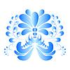 Векторный клипарт: Синий цветок. Гжель стиль