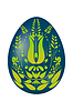 Векторный клипарт: Пасхальное яйцо синий с желтыми зеленые цветочным орнаментом.