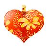Векторный клипарт: Рождественские игрушки в форме красного сердца с золотой