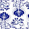 Векторный клипарт: Гжель синие цветы. Бесшовные. илл