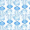 Векторный клипарт: Украшение из синего цветов Гжель. Бесшовный