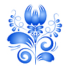 Векторный клипарт: Элемент дизайна синий цветок. Гжель