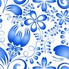 Векторный клипарт: Украшение голубыми цветами на белом бесшовных