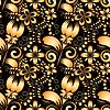 Векторный клипарт: Бесшовные текстуры с золотыми цветами на черном