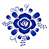 Векторный клипарт: Элемент дизайна цветочный орнамент в стиле Гжель