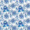 Векторный клипарт: Синий бесшовных цветов в стиле Гжель на