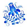 Векторный клипарт: Синий орнамент элемент дизайна в Гжели ба стиля