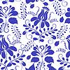 Векторный клипарт: Синий бесшовные модели. Цветы Гжель.