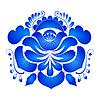 Векторный клипарт: Элемент цветочным орнаментом в стиле Гжель