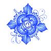 Векторный клипарт: элемент цветочный орнамент в стиле Гжель