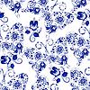 Векторный клипарт: Бесшовные текстуры с бабочками и цветами на