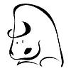 Einzelne schwarze Silhouette der Stier. Logo, t