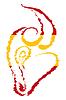 Skizze rot-gelb Silhouette Profil Bull`s Kopf