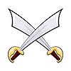Set bestehend aus zwei Schwerter. Waffe für den Kampf. illu