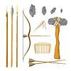 Set Werkzeuge des prähistorischen Menschen: Pfeil und Bogen,