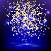 Bright festive banner with confetti on blue | Stock Vector Graphics