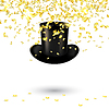 Black men hat cylinder with gold confetti | Stock Vector Graphics