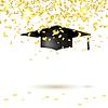 Graduate cap and golden confetti. i | Stock Vector Graphics