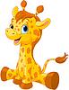 Векторный клипарт: Симпатичные Жираф теленок