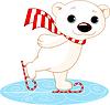 Eisbär auf Schlittschuhen
