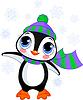 Netter Winter-Pinguin mit Mütze und Schal