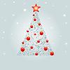 Векторный клипарт: украшенная новогодняя елочка