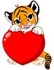 Nettes Tigerjunges mit Herz
