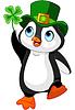 Pinguin feiert St. Patrick Day