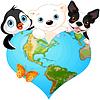 Векторный клипарт: Земля сердце с животными