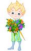 Векторный клипарт: Симпатичные Маленький принц держит цветы
