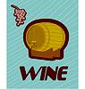 Banner mit einem Fass Wein in Flaschen und Gläsern