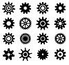 Koła zębate koła zębate zestaw ikon | Stock Vector Graphics