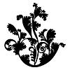 Векторный клипарт: Силуэт черный дизайн завод орнамент