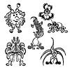 Set niedlich Doodle-Fantasy-Monster Persönlichkeit