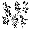 Set decorative flower silhouette | Stock Vector Graphics