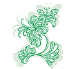 Decorative flower motif pattern butterflies | Stock Vector Graphics