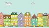 Векторный клипарт: Горизонтальная бесшовные модели каракули дома