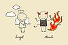 Netter Engel und Teufel doodle