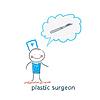 plastischen Chirurgen Chirurg denkt Skalpell