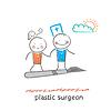 plastischer Chirurg mit dem Patienten Fliegen auf Skalpell