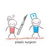 plastischen Chirurgen Fluchten von Patienten mit Skalpell