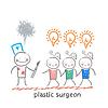 plastischer Chirurg Betrieb Skalpell und schaut