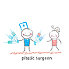 plastischer Chirurg mit Spritze und steht neben