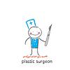 plastischer Chirurg mit Skalpell