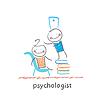 Psychologe ist auf Stapel Bücher und sieht innen