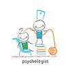 Psychologe ist auf Stapel Bücher und zieht