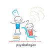 Psychologe ist auf Stapel Bücher und produziert stea