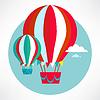 Heißluftballon fliegen und Wolken-Symbol