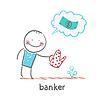 Bankier Pflanzenbewässerungsvorrichtung und denkt über Dollar