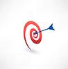 Ziel und Pfeilsymbol. Zweckbegriff. Logo